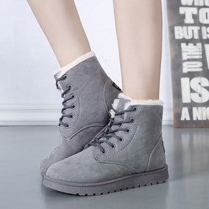 Hot cotton non-slip women snow boots fashion red warm winter shoes female lace up Flat fur ankle boots for women plus size ST903-moflily
