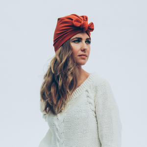 Tiny Turban Headwrap rusty red
