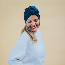 Load image into Gallery viewer, Tiny Turban Headwrap dark blue