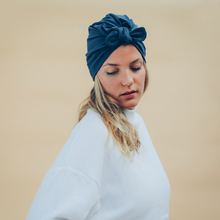 Laden Sie das Bild in den Galerie-Viewer, Tiny Turban Headwrap dark blue