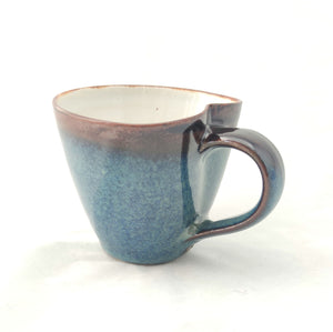 Blue Reactive & Tenmoku Heart/Lily Pad Shaped Mug