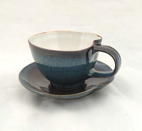 Blue Reactive & Tenmoku Teacup & Saucer