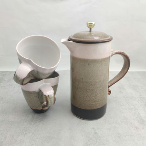 Pink Mocha Blush & Tenmoku Cafetiere & Two Mugs