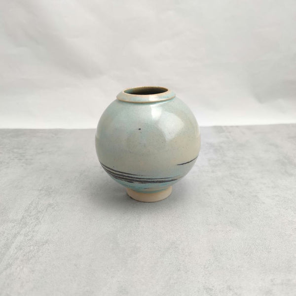 Turquoise and Black Porcelain Moon Jar