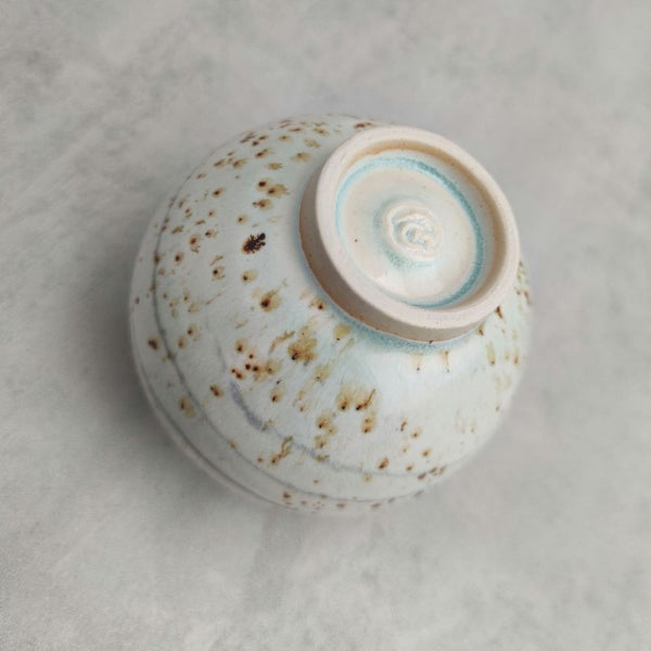 Turquoise Haze Speckle Moon Jar