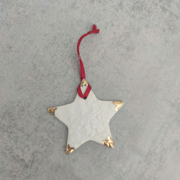 Porcelain & Gold Lustre Hanging Christmas Decorations