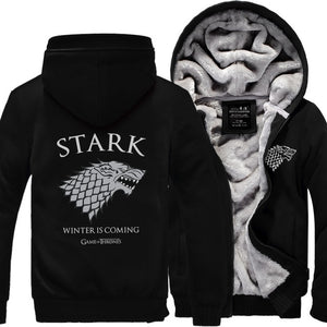 Game of Thrones House Stark Men Sweatshirt Winter Is Coming Hoodie 2017 spring winter warm fleece thicken men jacket Zipper coat