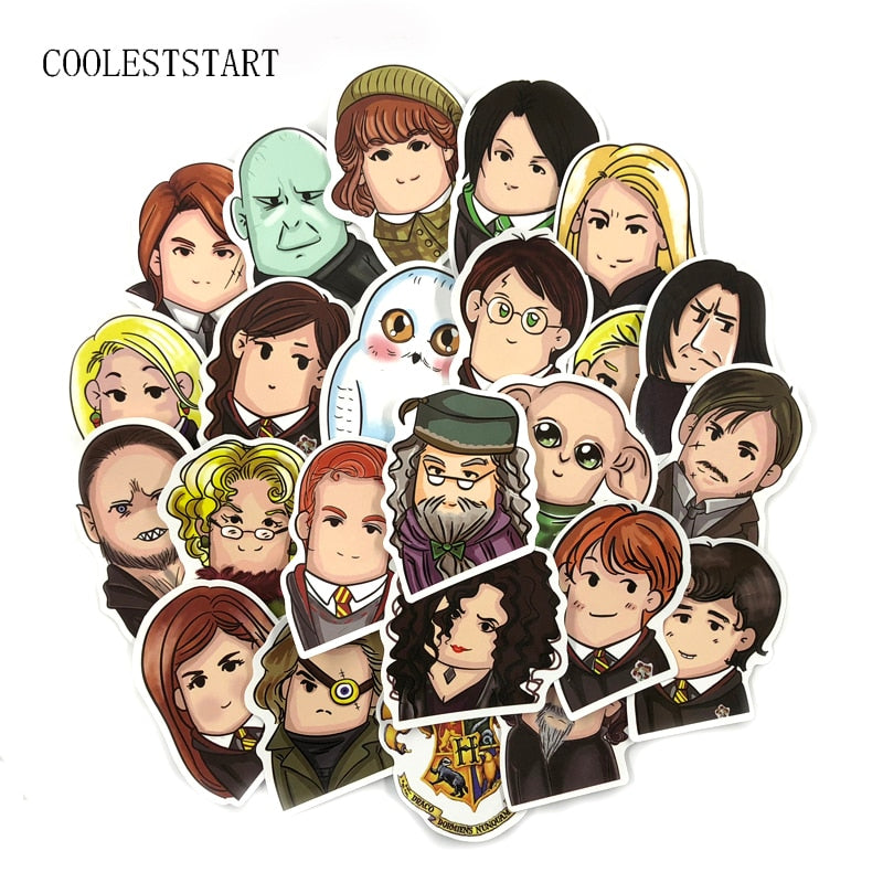 New 24Pcs/Set Cartoon Harry Potter Cute Stickers Pvc Waterproof Stickers For Luggage Laptop Car Bike Skateboard Toy Sticker Gift