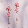 Dew on petal 2-ways Rose-gold plated S925 Earrings