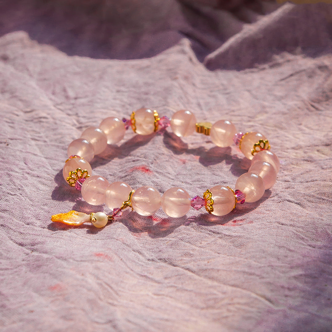 Maiden's Prayer Rose Quartz Bracelet (with detachable petal pendant)