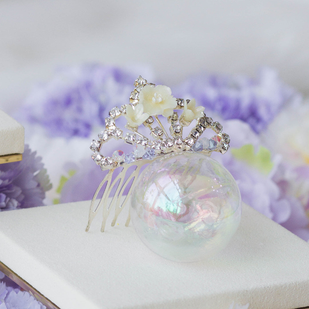 POM POM Peony Mini-Crown Hair Comb