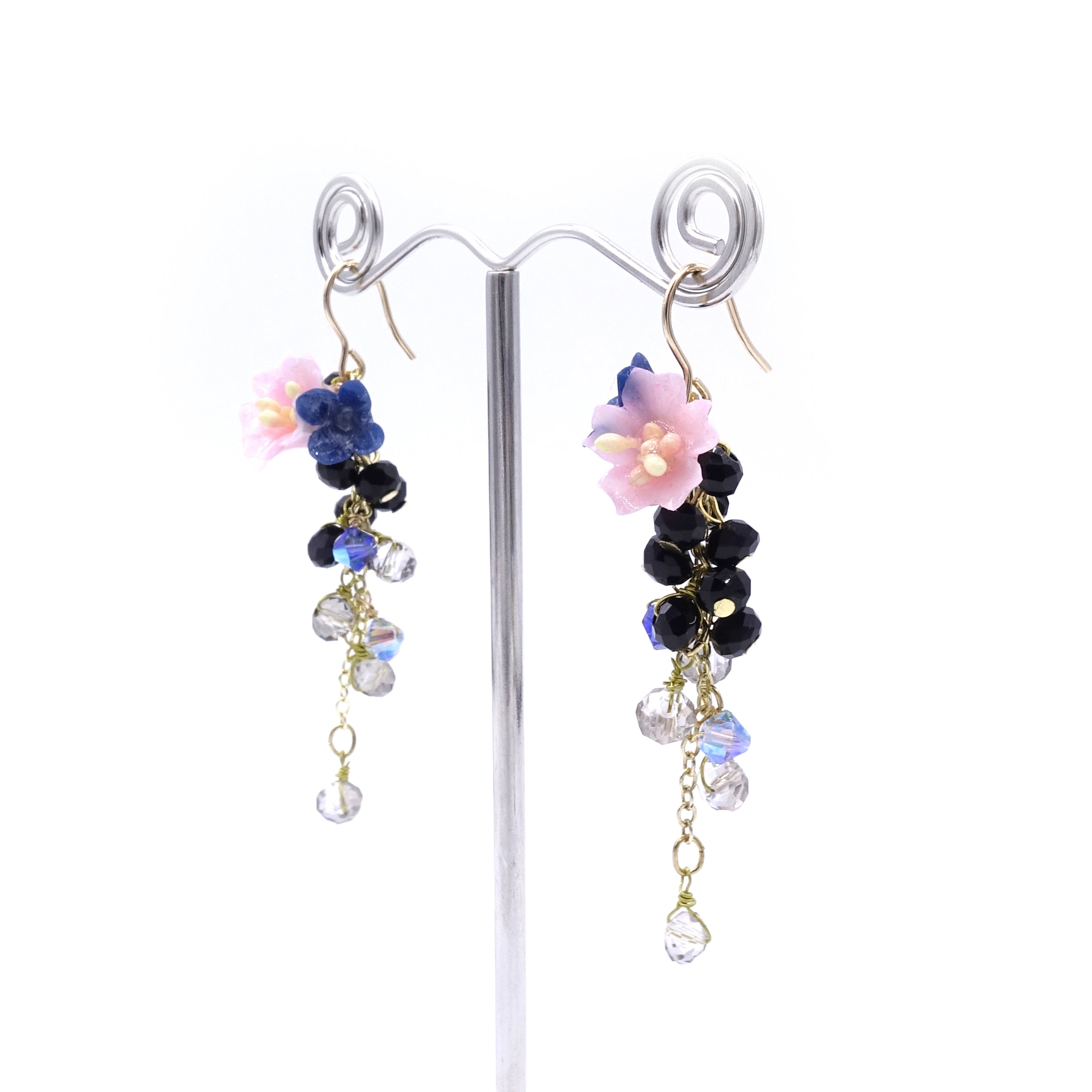 SAKURA COLLECTION Night-Sakura-Rain Floral Crystal Earrings - Pink