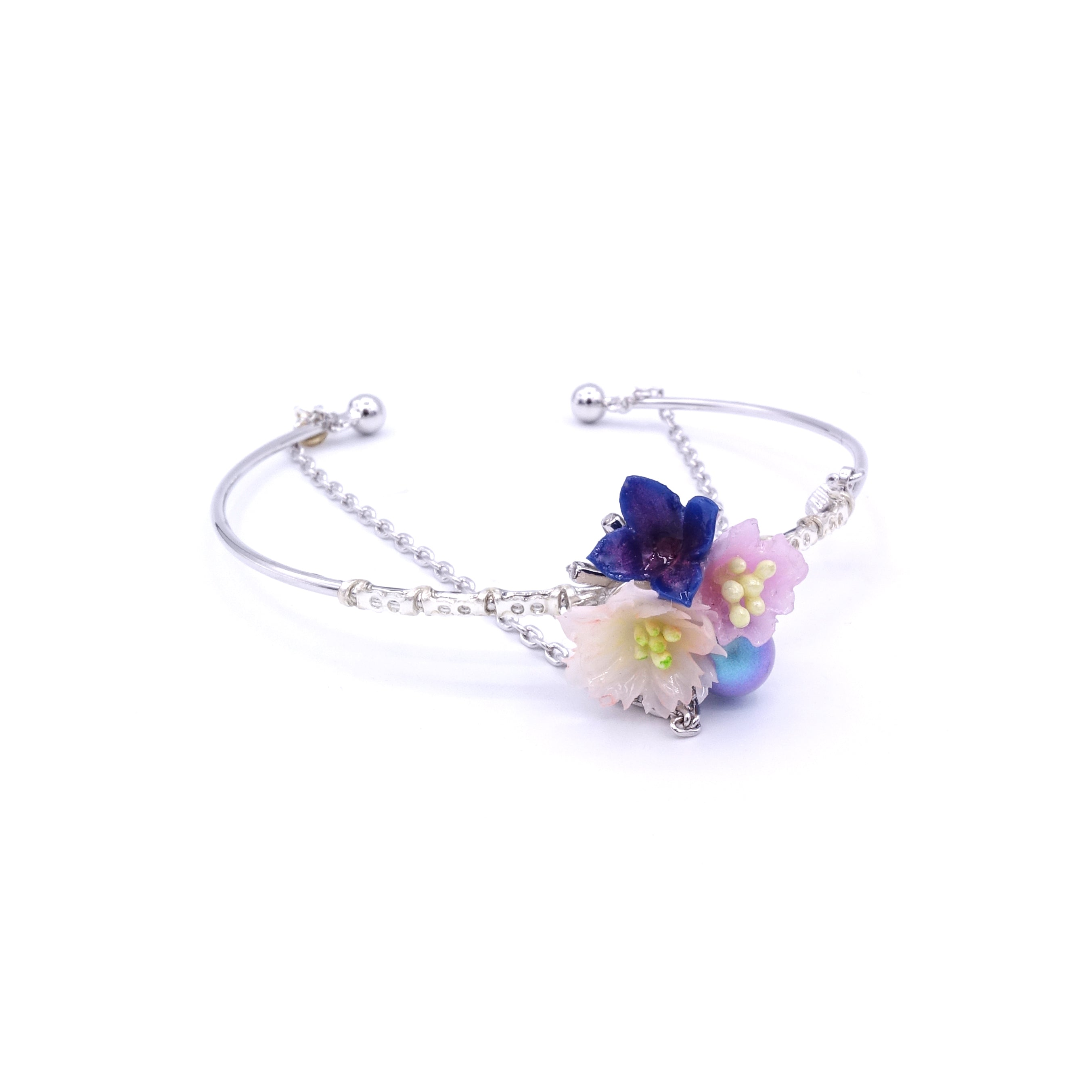 SAKURA COLLECTION Night-Sakura Crystal Floral Silver-plated Bangle