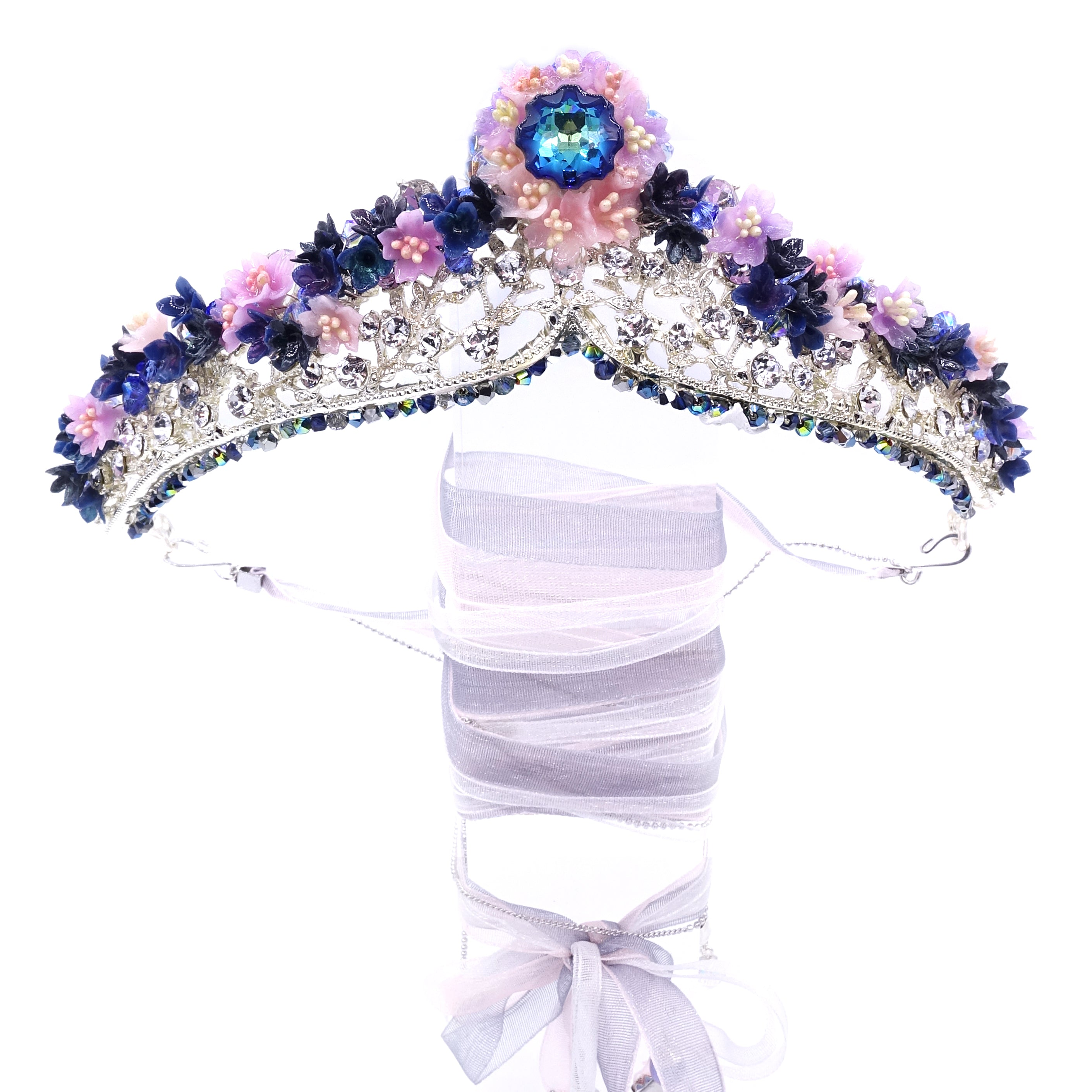 SAKURA COLLECTION Night-Sakura Floral Crystal Crown