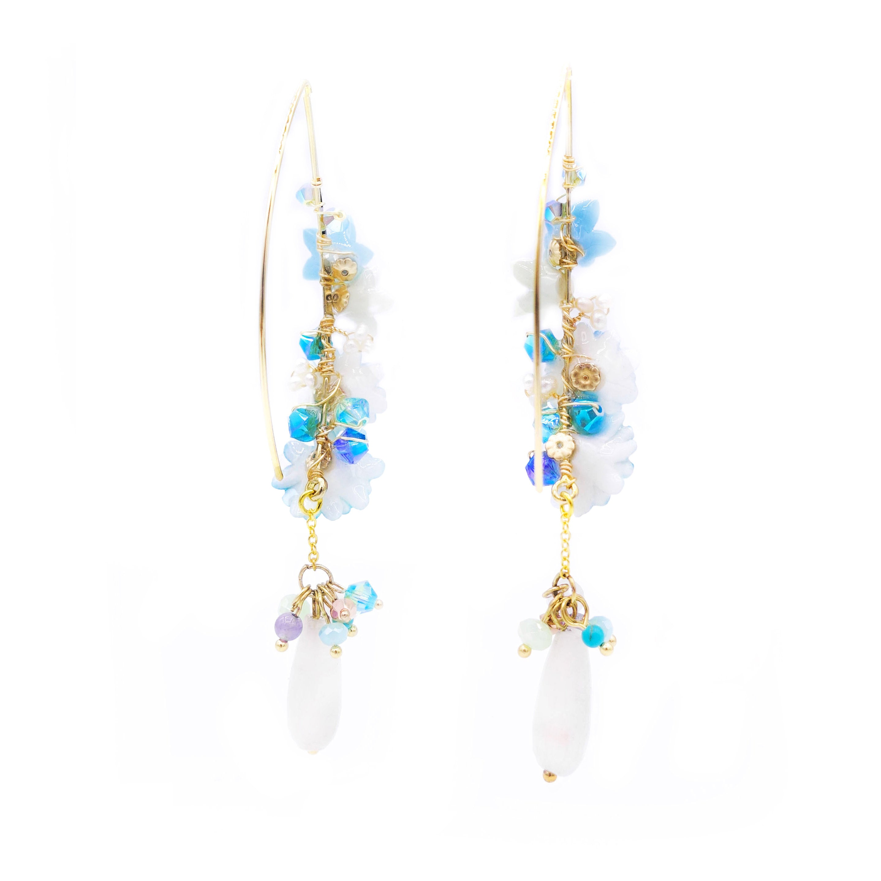 ZINNIA Aqua Gold-plated 925 Silver Floral Earrings