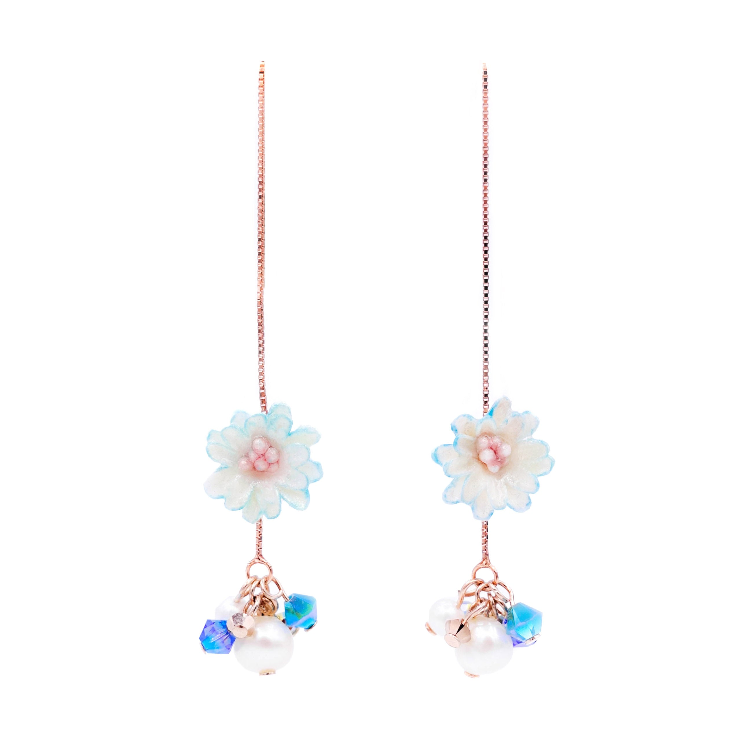 ZINNIA Aqua Rosegold-plated 925 Silver Ear Chains