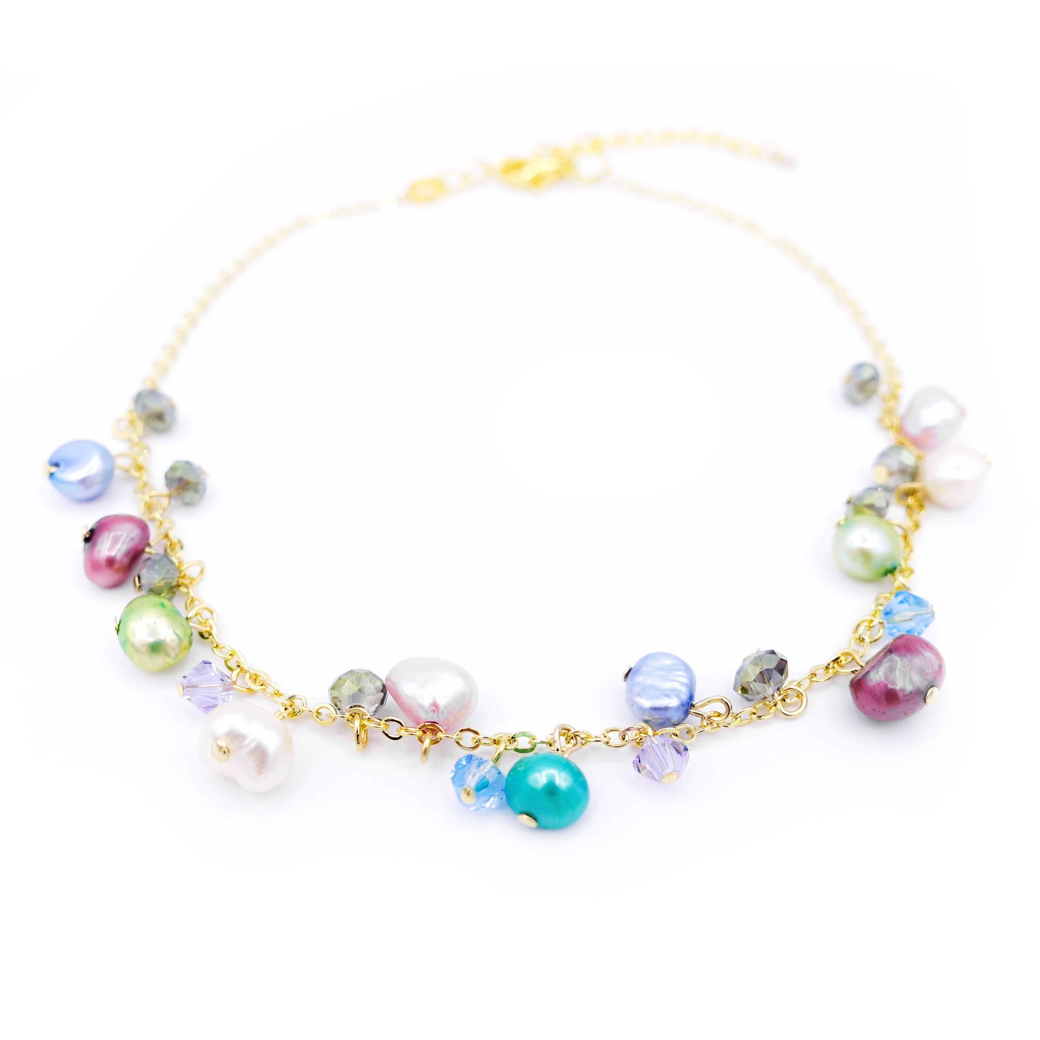 ZINNIA Aqua Gold-plated 925 Silver Pearl Anklet