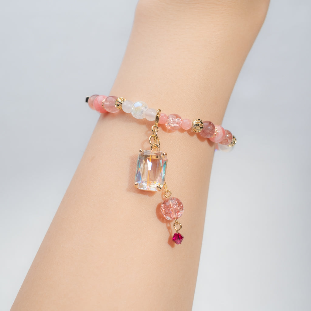⑥ Natural Quartz Bracelet with Detachable Pendant - Slim (10 Designs)