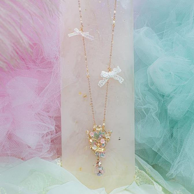 Deer Fantasia Floral Pom Pom S925 2-way Necklace
