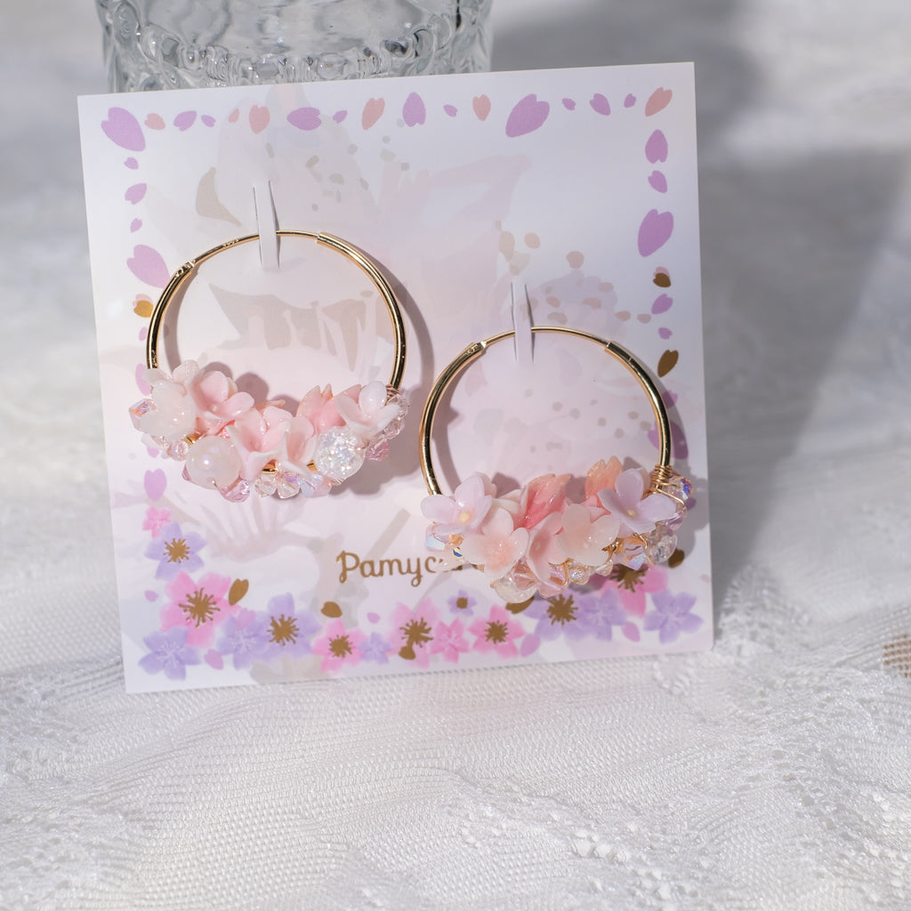 ④ Floral Hoop Earrings (6 Designs)