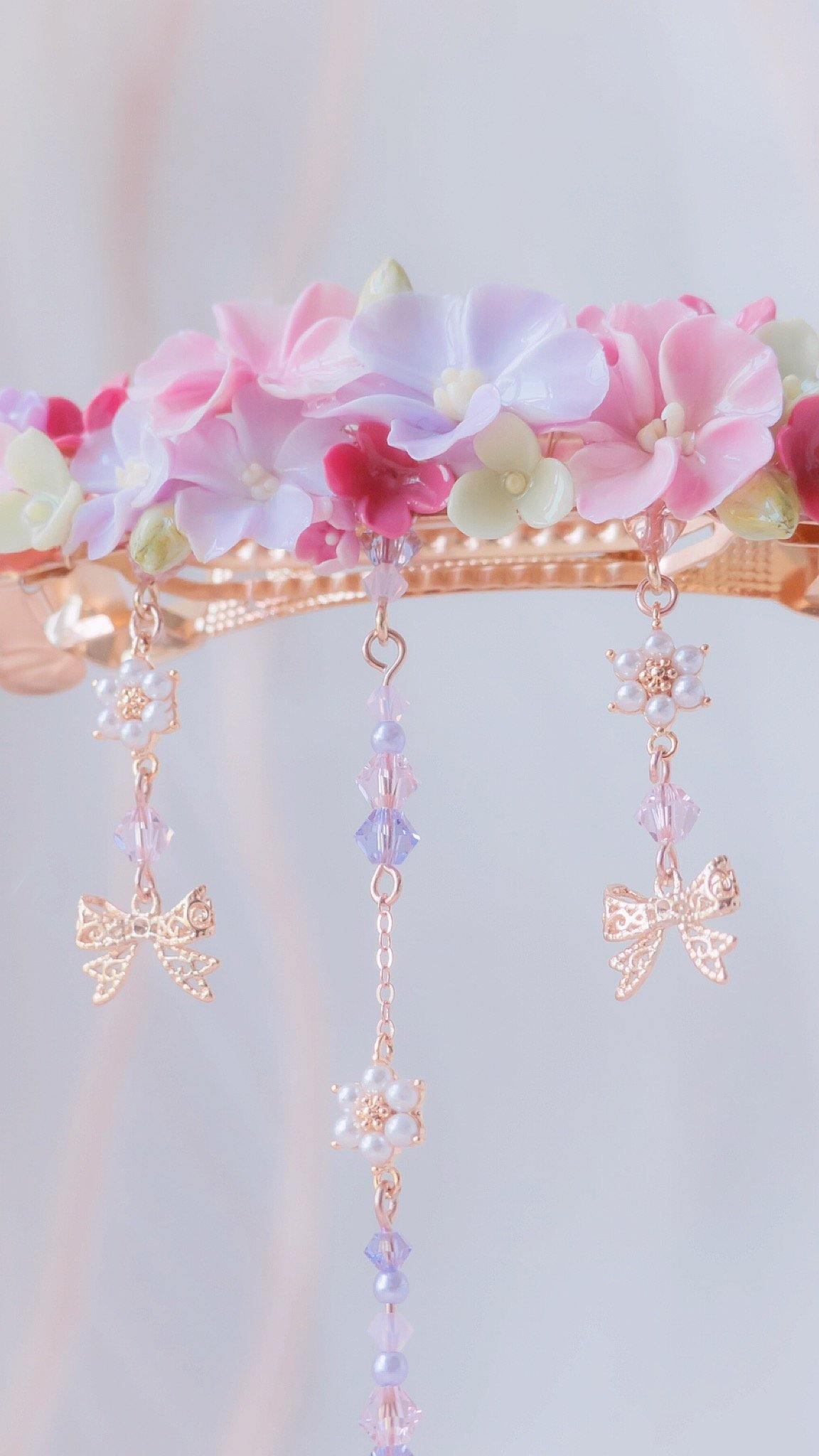 #8 ZODIAC Virgo Violet bower Rosegold-plated Carrie Clip
