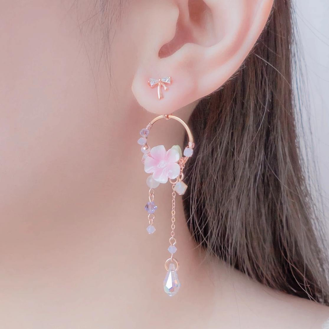 #8 ZODIAC Virgo Violet Bloom Dream Catcher Rosegold-plated 925 Silver Earrings