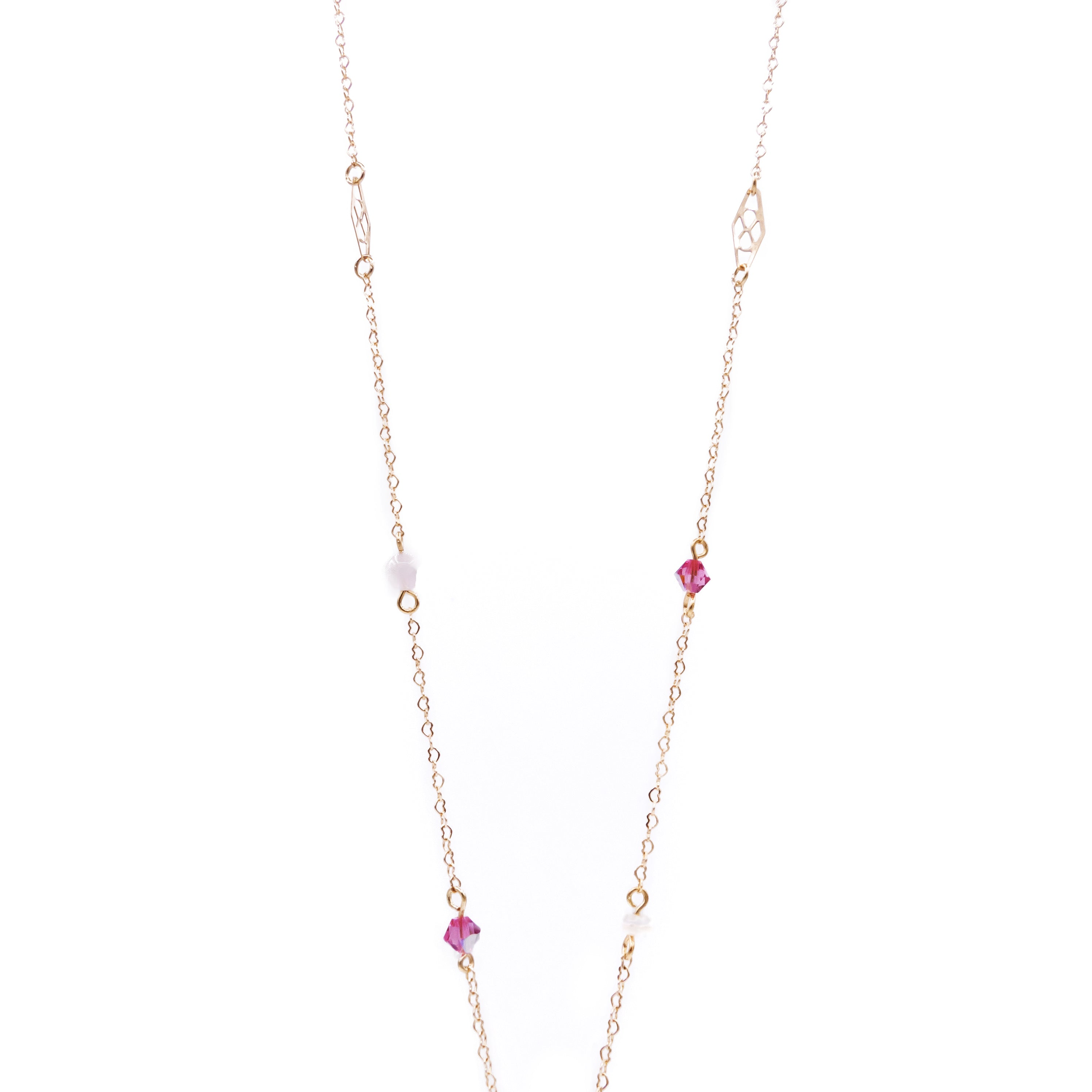 Strawberry Rose Quartz 14K Gold-plated 925 Silver Long Necklace
