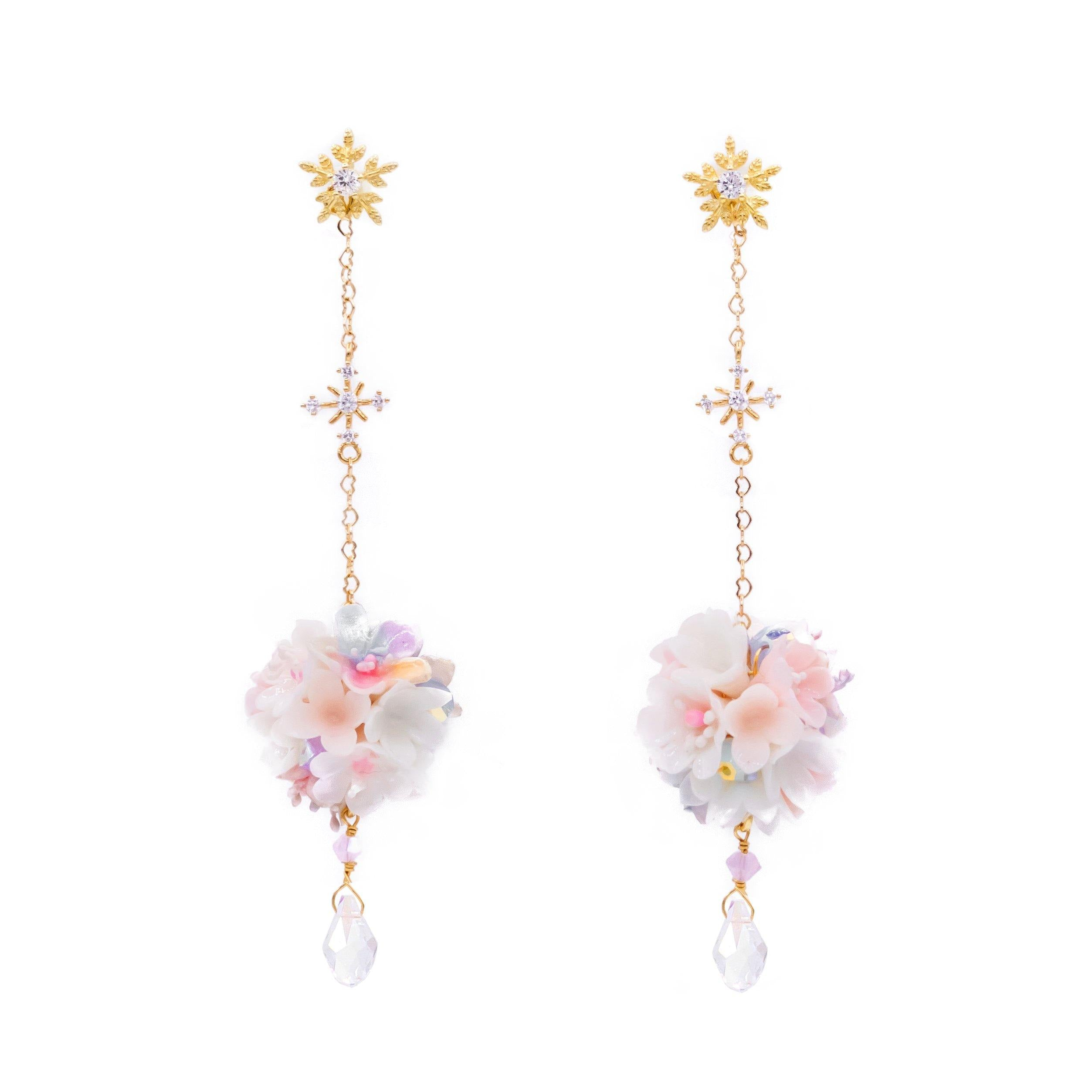 Aurora Luster Bouquet 2-way 14K Gold-plated Silver Earrings