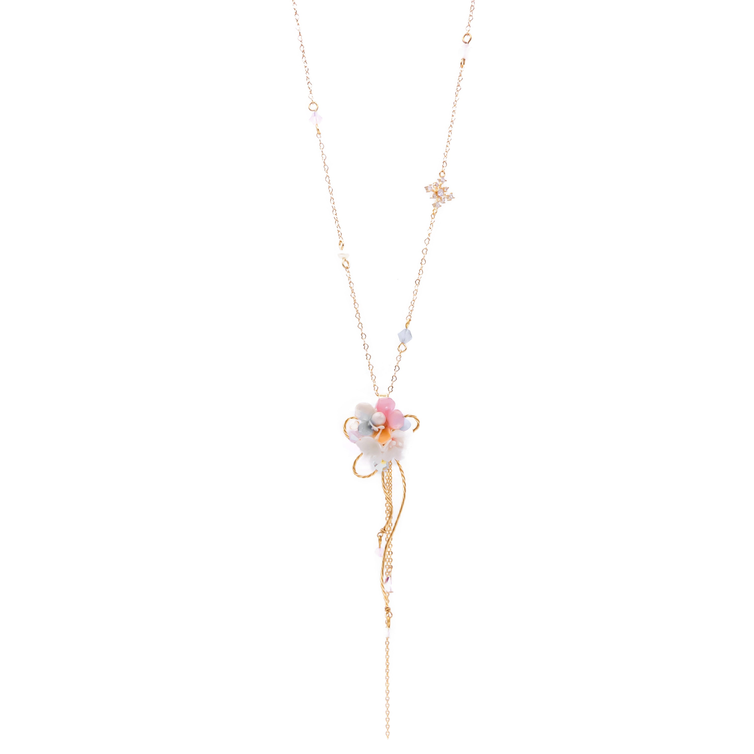 Strawberry Morganite 14K Gold-plated 925 Silver Long Necklace