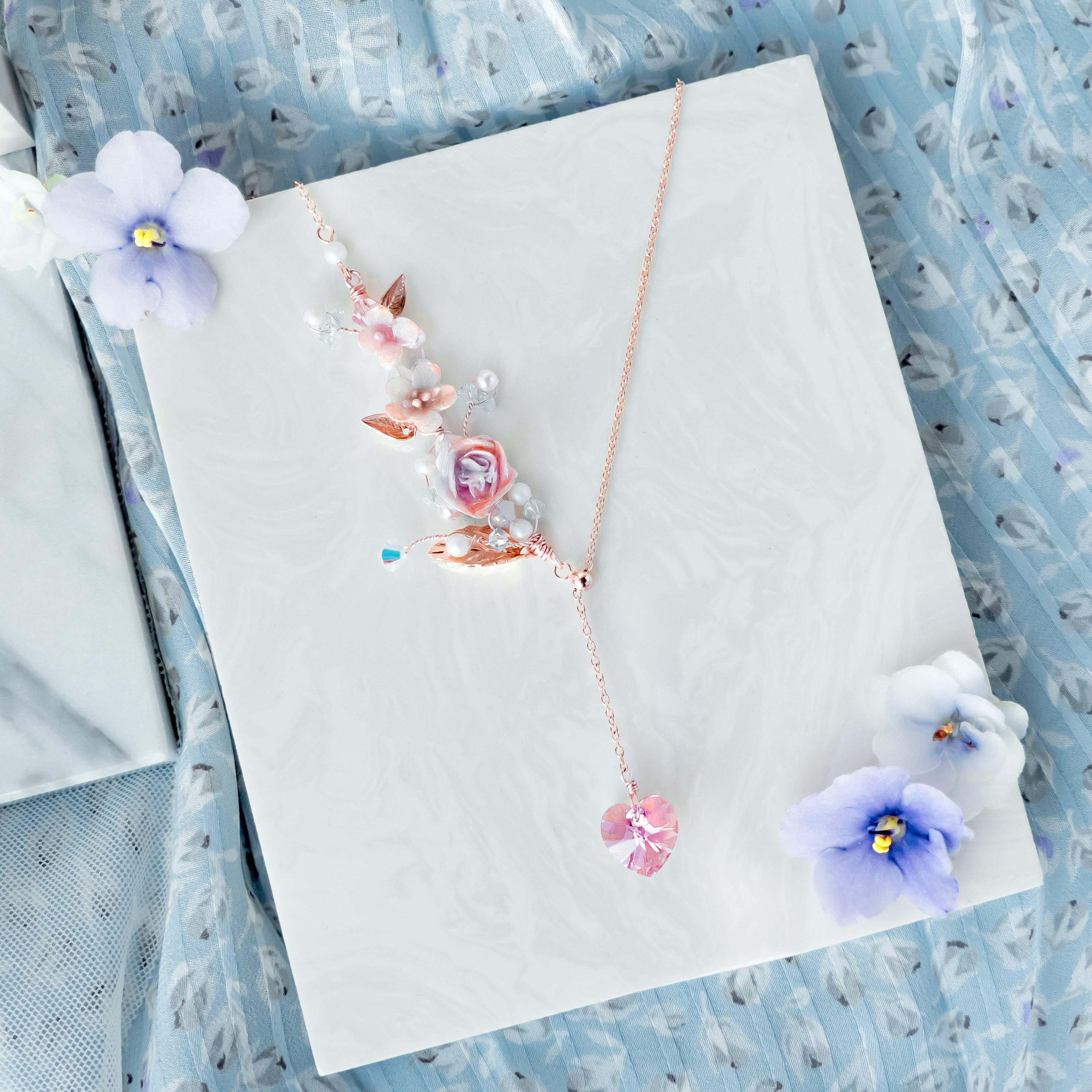 ZODIAC Aquarius Garden Rose Necklace