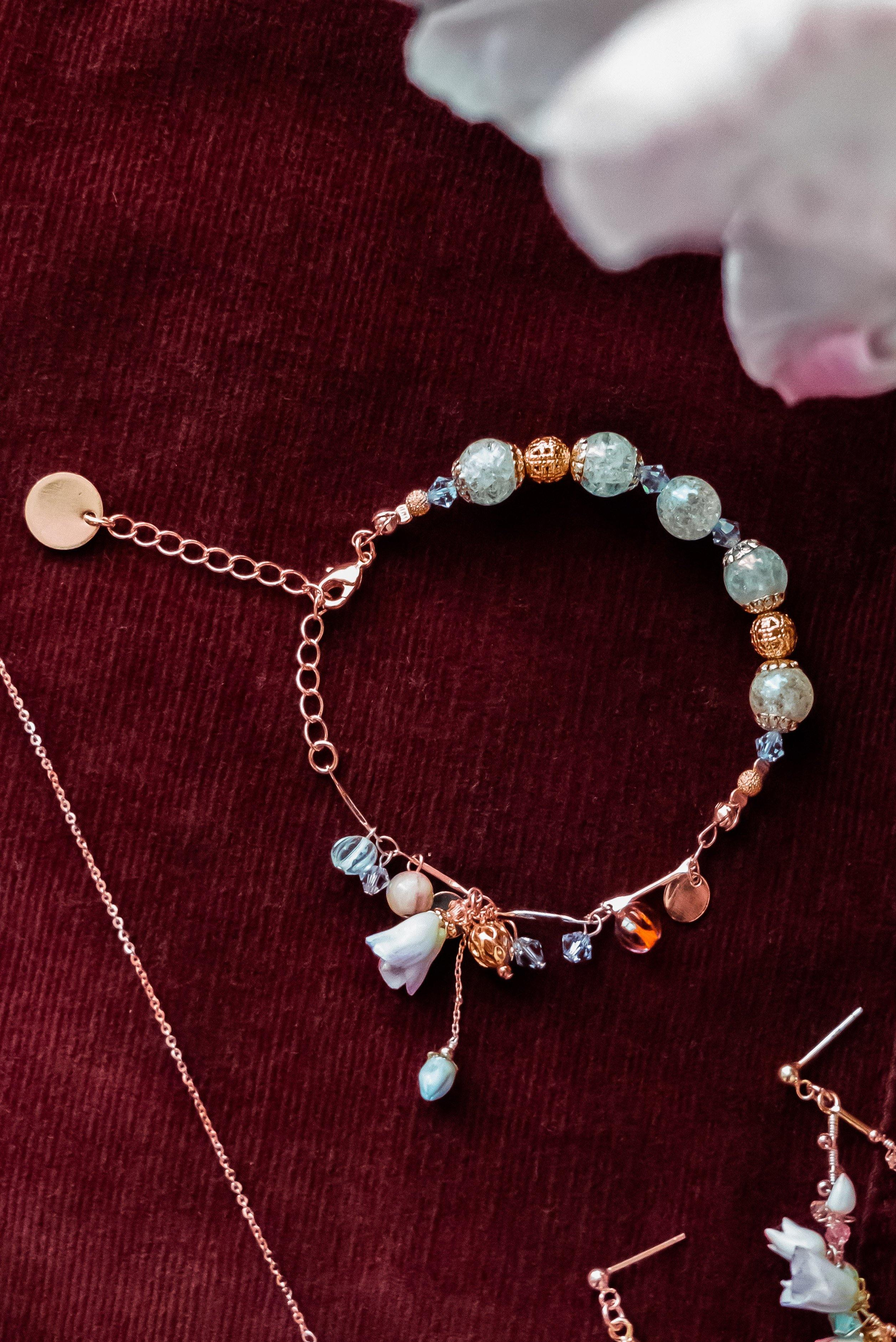 #2 ZODIAC Pisces's Breath Tulip Rose-gold Plated 925 Silver Charm Bracelet