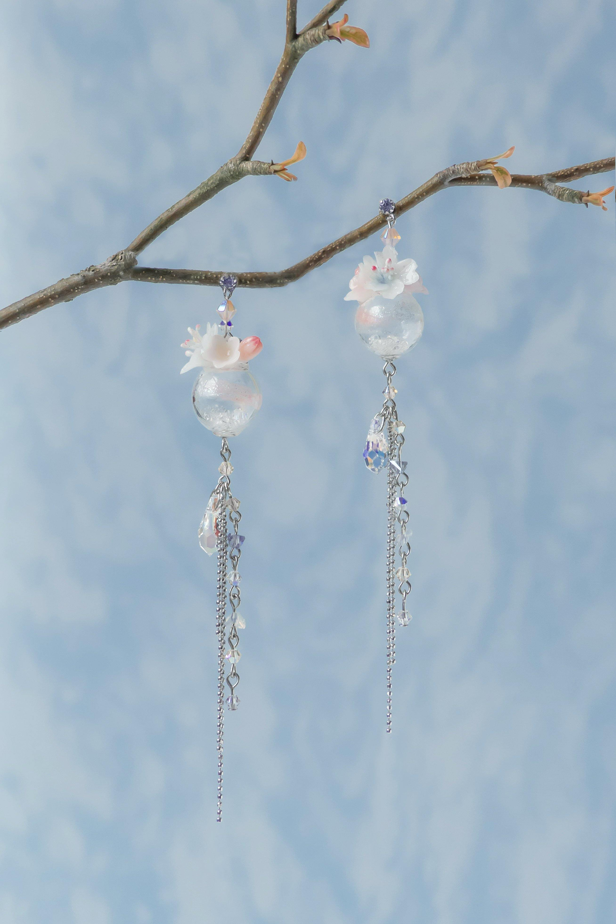 #3 ZODIAC Aries Sakura & Wind Chime 925 Silver Earrings (with a detachable cuff) - Pamycarie Hong Kong