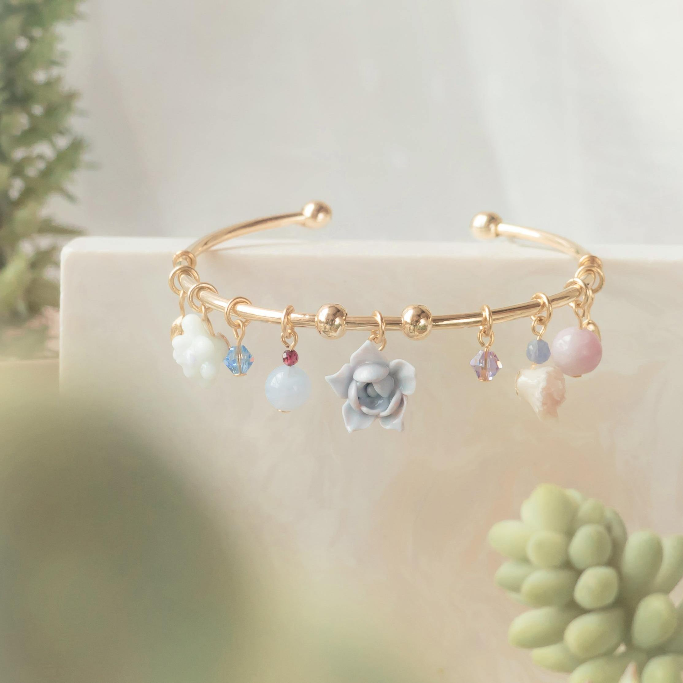 #5 ZODIAC Gemini Succulent Gold-plated Charm Bangle