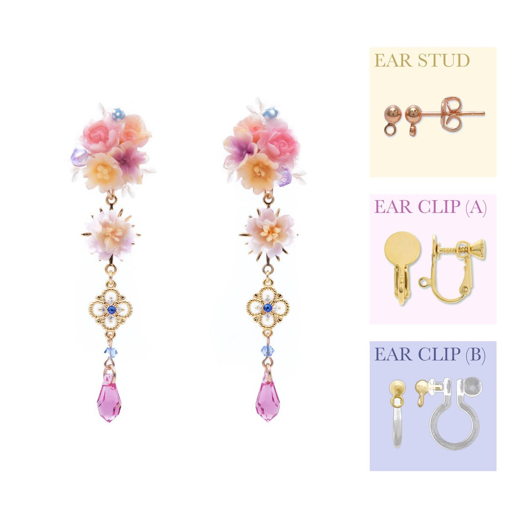 Camellia's Prophecy Rose-gold plated 925 Silver 2-way Earrings