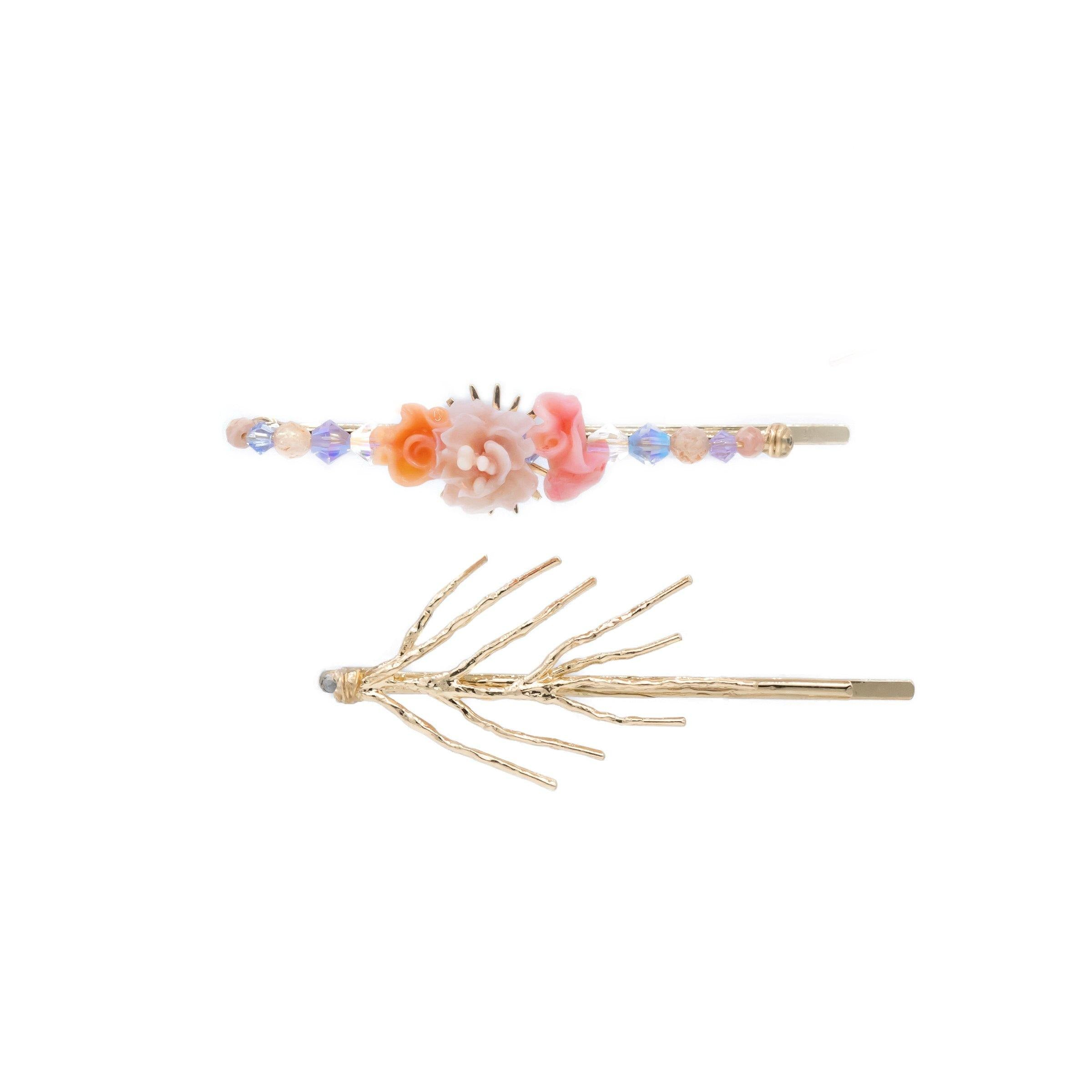 Coral Reef Camellia Gold-plated Hair Clip Set