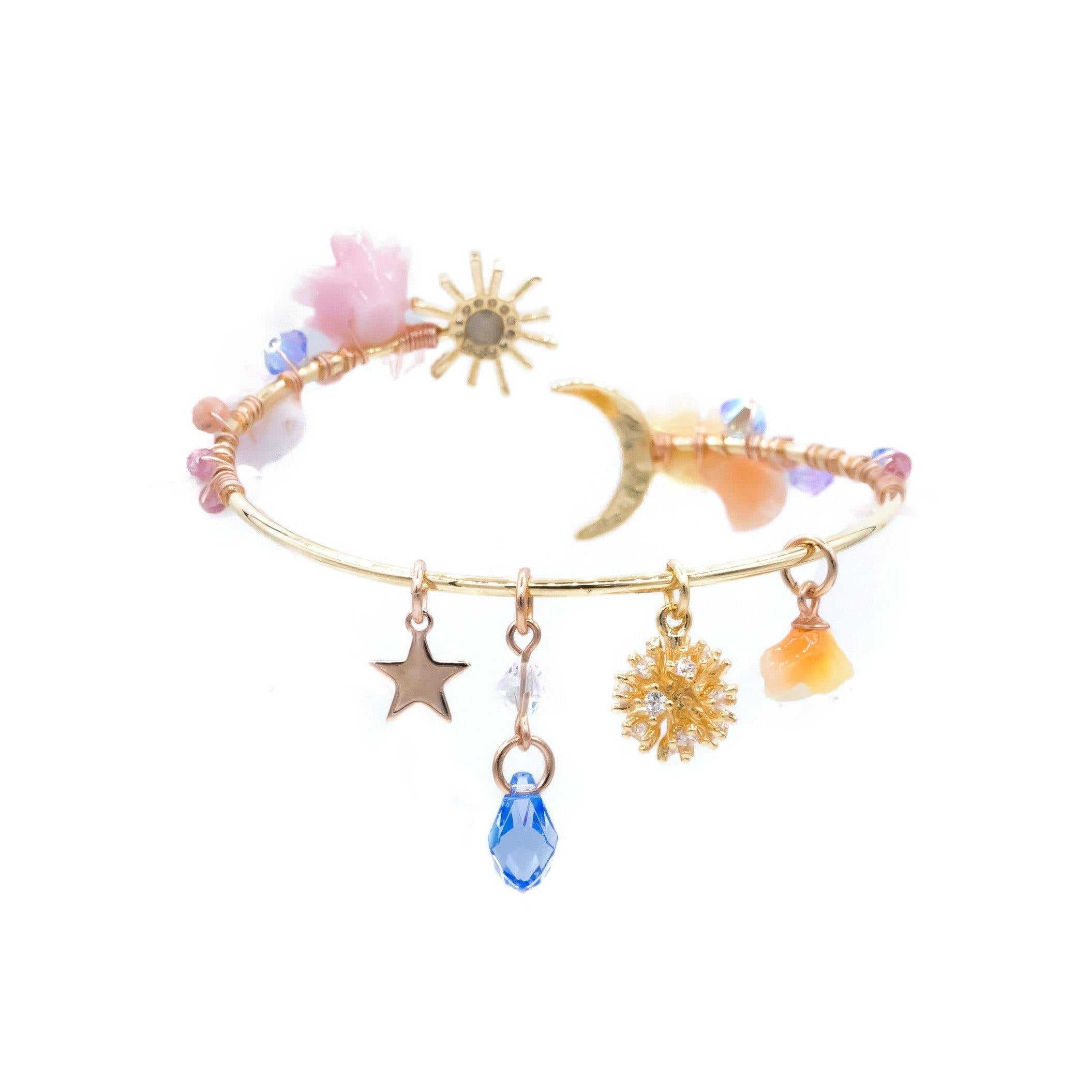 Camellia's Memory Eustoma & Coral 14K Gold-plated Moon Bangle
