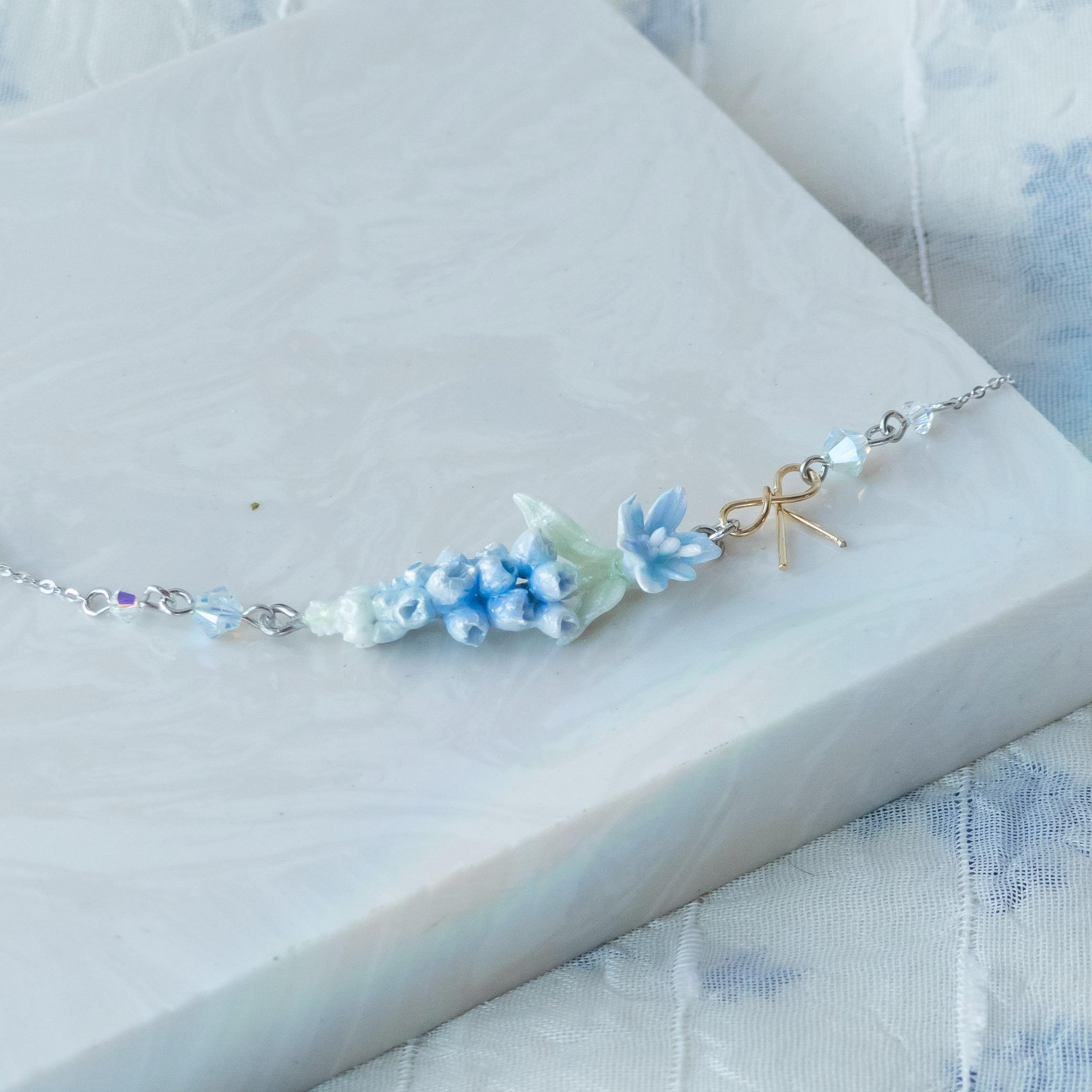 #6 ZODIAC Cancer Heavenly Blue Muscari 925 Silver Bracelet