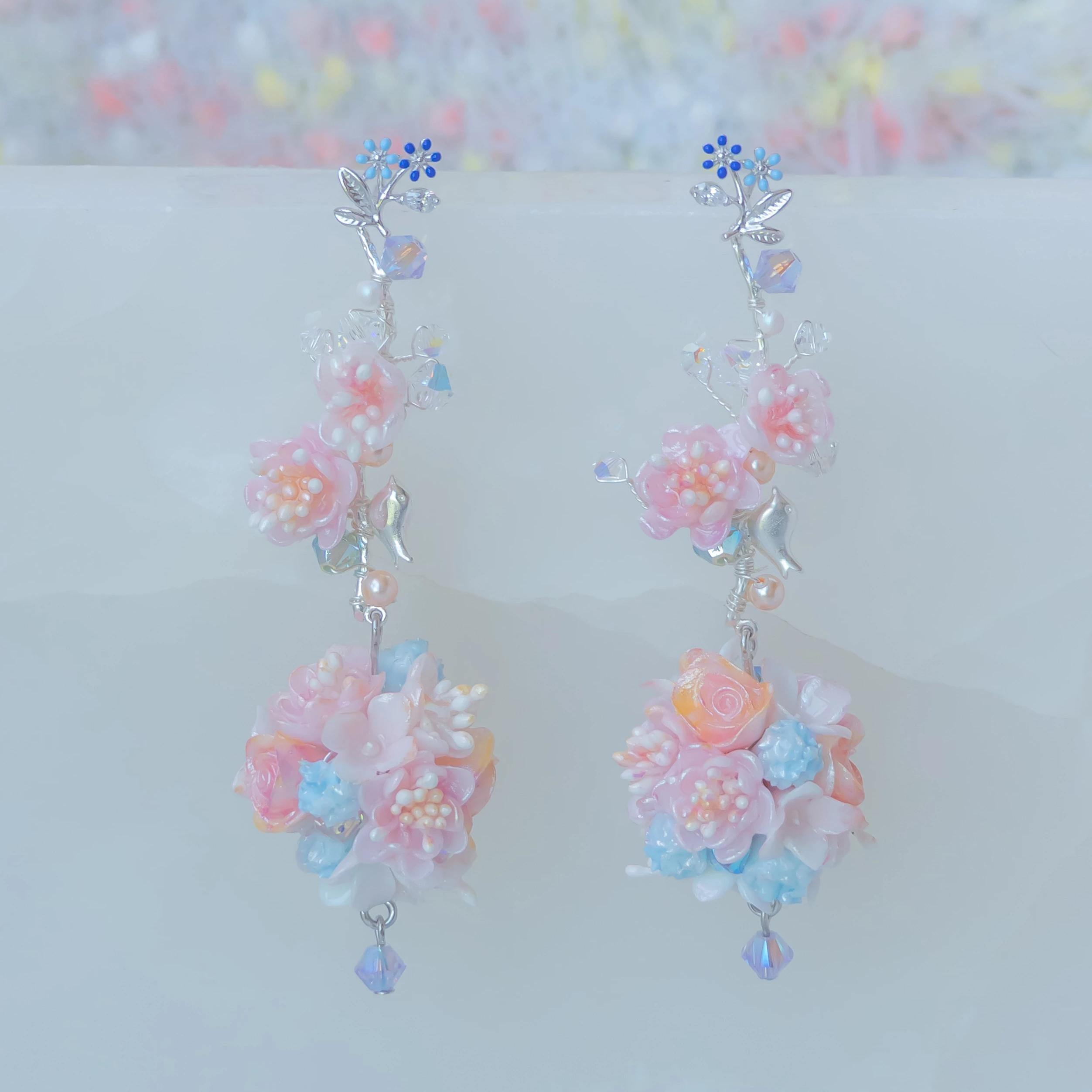 #9 ZODIAC Libra Plum Blossom 925 Silver Bouquet Earrings - Pamycarie Hong Kong