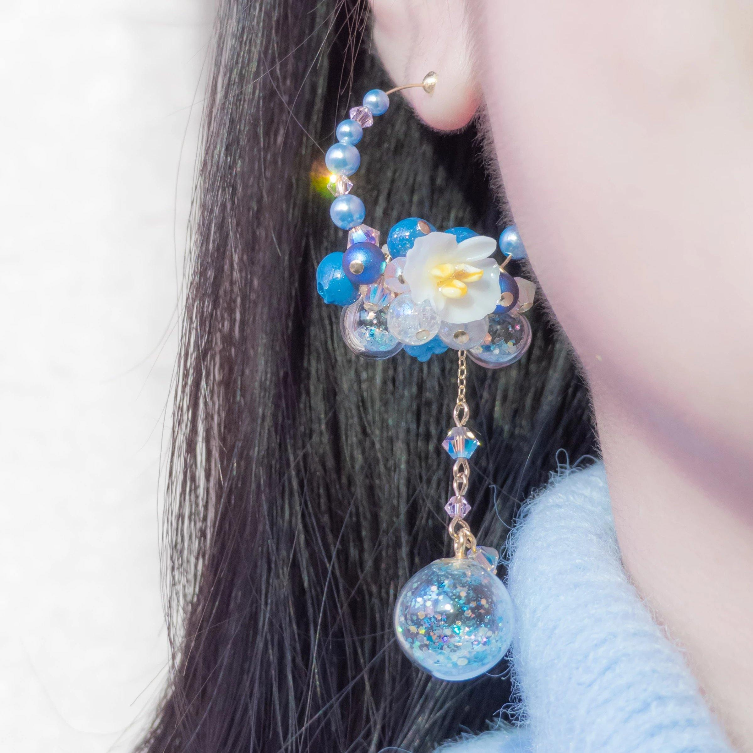 #10 ZODIAC Scorpio Begonia POMPOM Asymmetrical Earrings