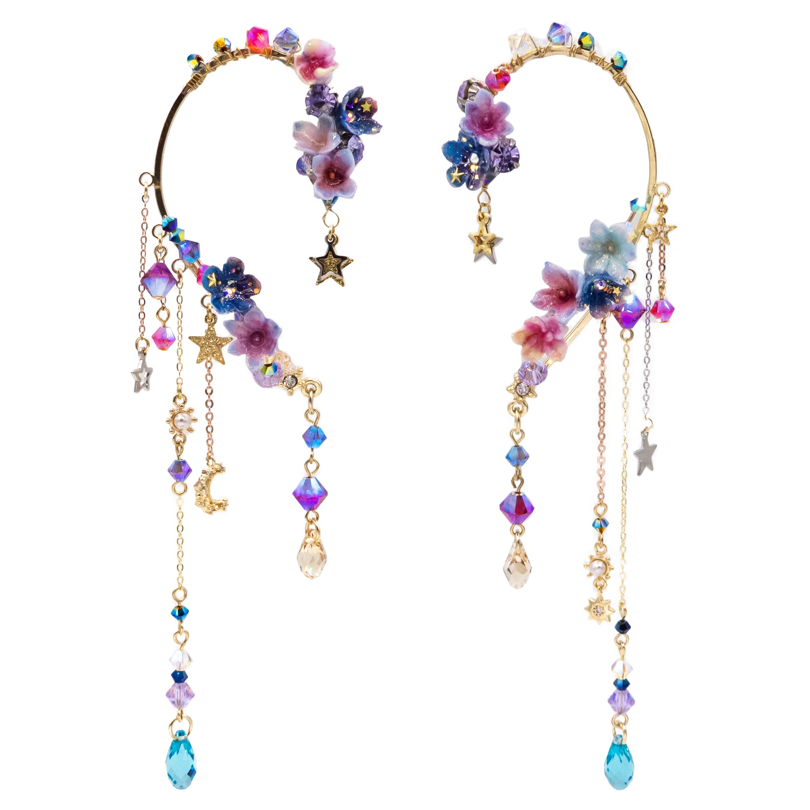 Meteor shower Floral Gold-plated Ear Hook
