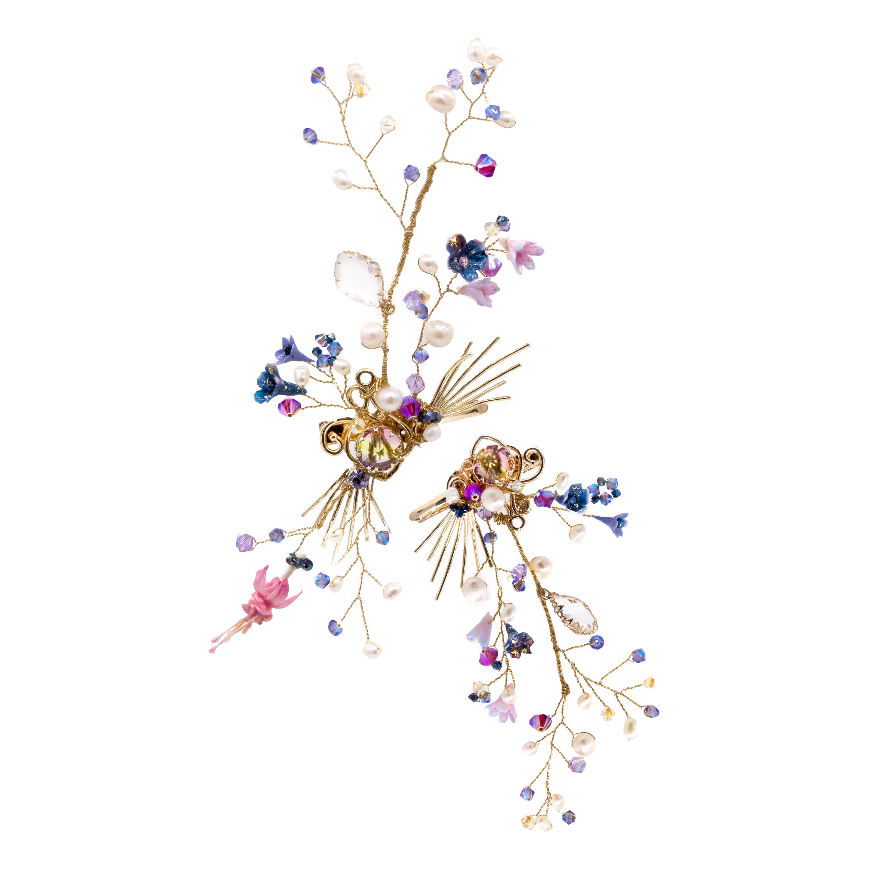 Sky Map Floral Gold-plated Hair Clip