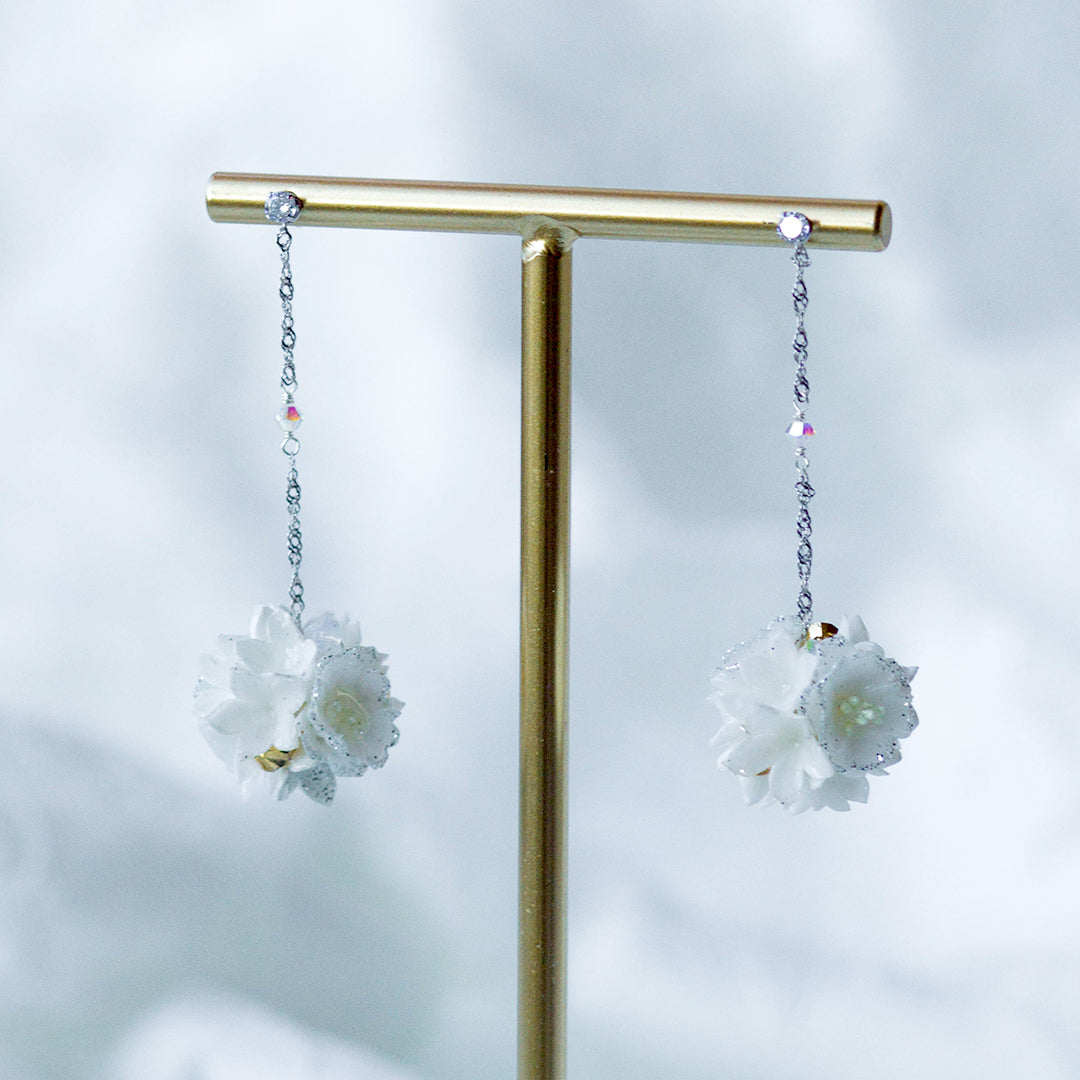 POM POM Peony Bouquet 925 Silver Earrings