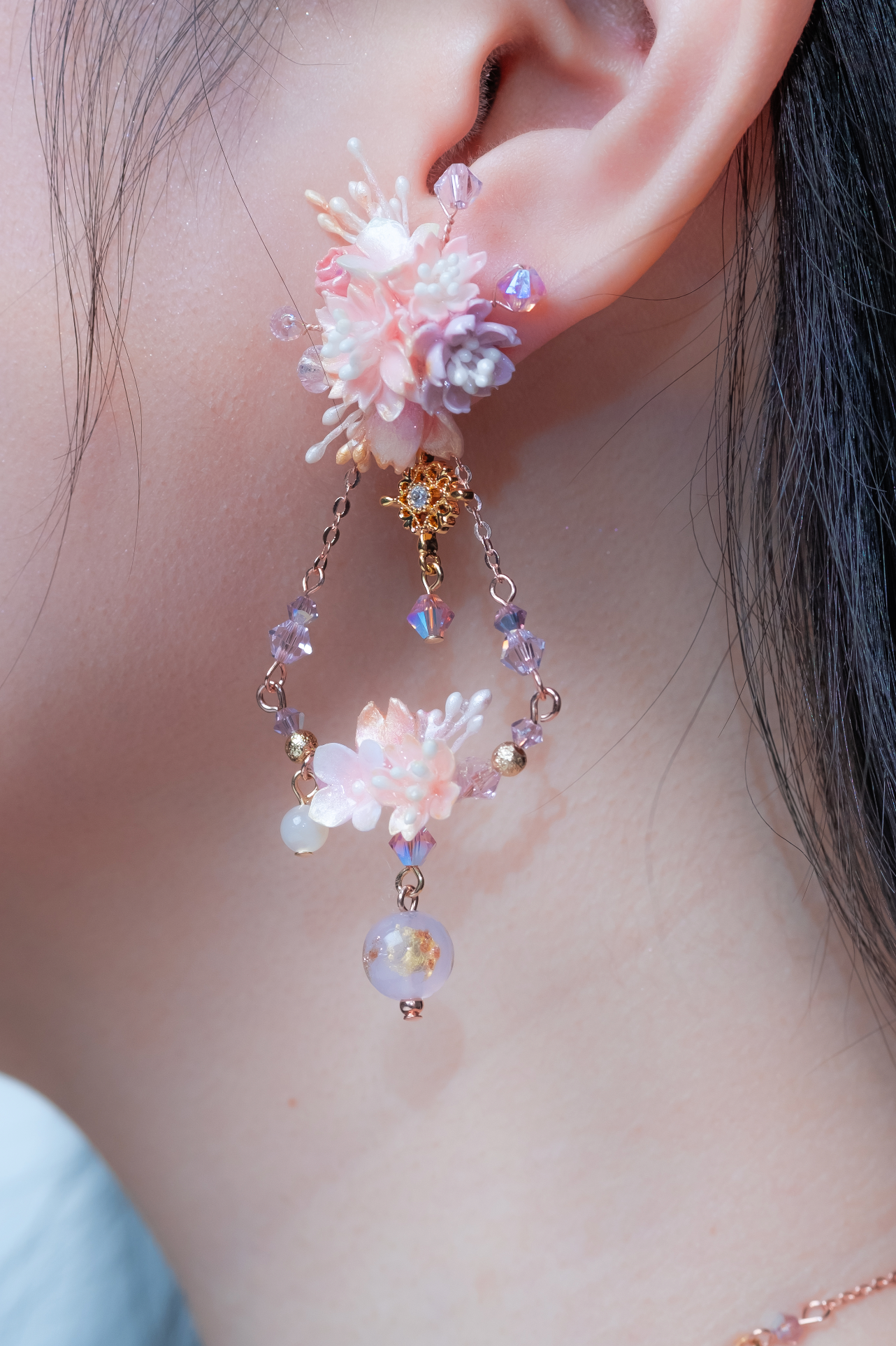 Metronome 2-Ways Rose Gold-plated S925 Swing Earrings