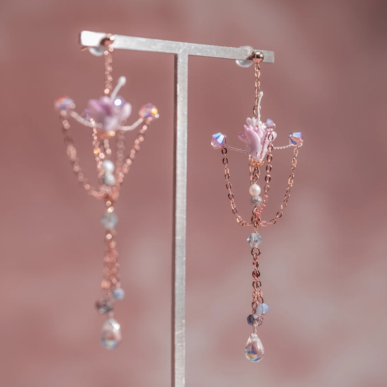 Wild Sakura Rose-gold plated S925 Spinning Top Earrings