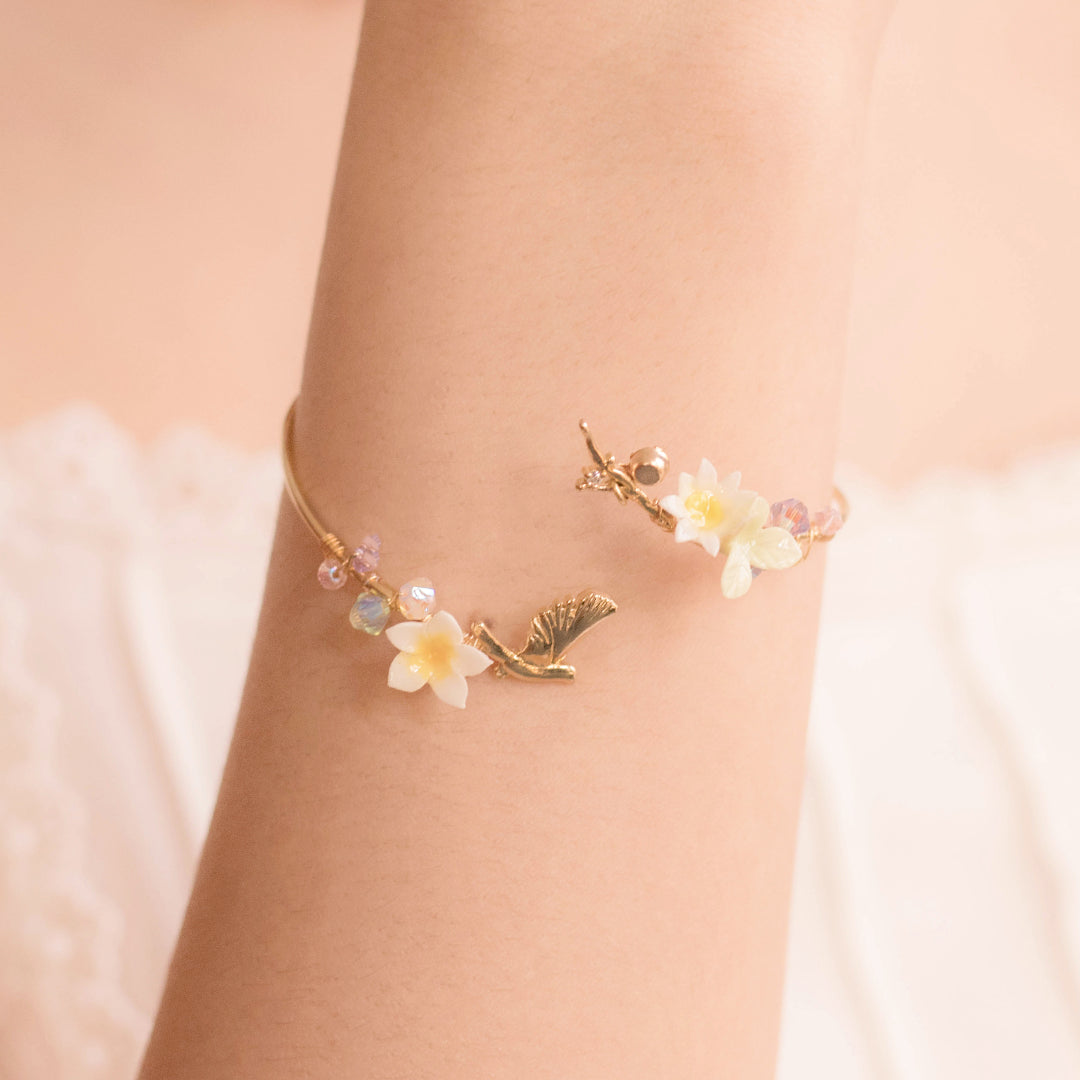 Plumeria Branch Bangle