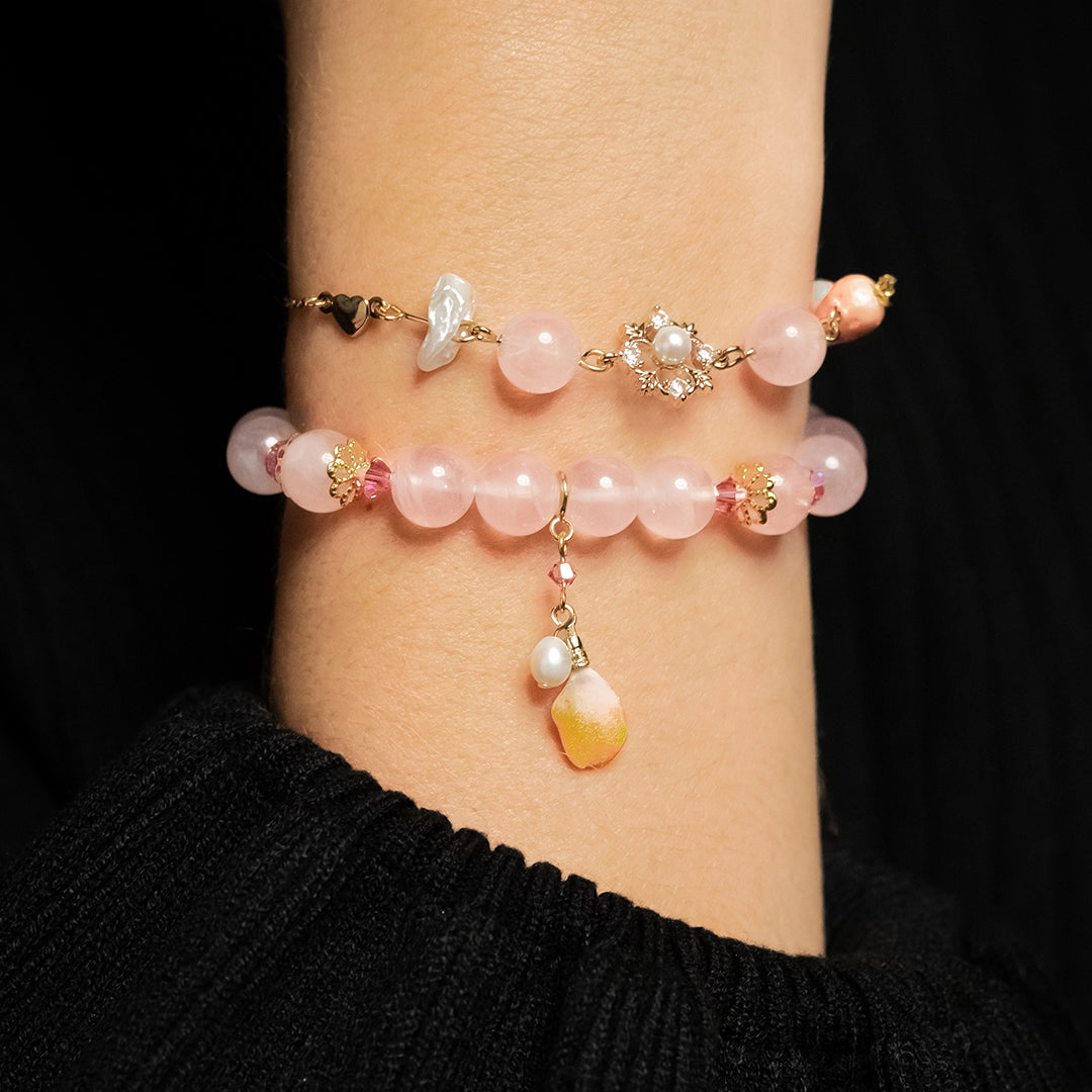Snowy Strawberry Rose Quartz 14K Gold-plated 925 Silver Bracelet