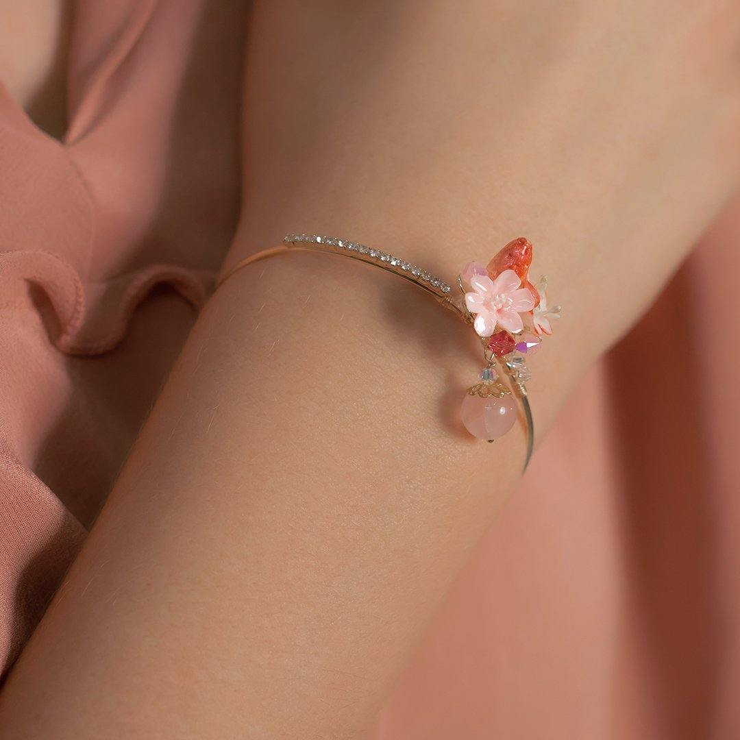 Berry Rose Quartz 14K Gold-plated Bangle