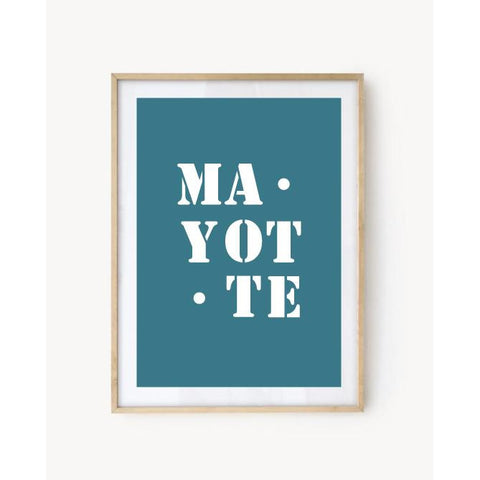 "Affiche ""Mayotte"" bleu turquoise"