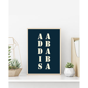 "Affiche ""Addis Ababa"" bleue"