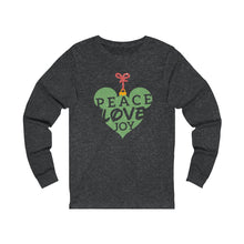 Load image into Gallery viewer, Peace Love and Joy Unisex Jersey Long Sleeve Tee